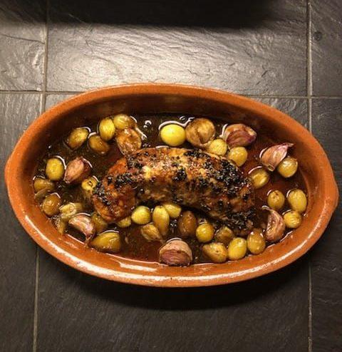 Pork tenderloin with organic black garlic honey