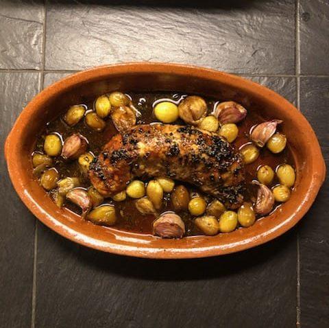Filet mignon de porc au miel à l'ail noir bio